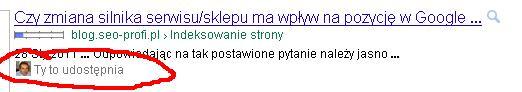 Wyniki wyszukiwania w Google - widać, kto co udostepnia z naszych znajomych