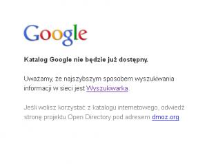 Koniec katalogu stron Google