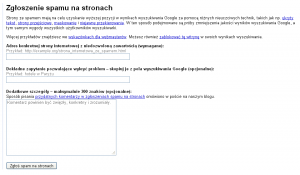 Formularz na zgłoszenie spamu w Google