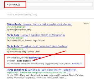 Google usuwa operatora +