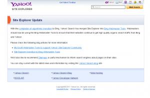 Koniec Yahoo! Site Explorer
