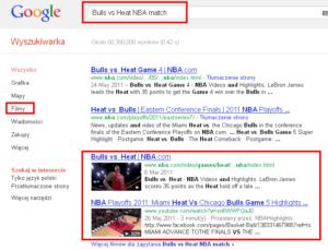 Filmy w wynikach wyszukiwania Google