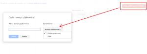 Dodanie nowego użytkownika do Narzędzi Google dla Webmasterów