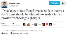 Feedback do Google w sprawie update'u Pingwin