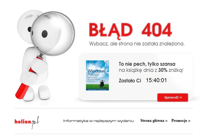 Użyteczna strona błędu 404 Helion.pl