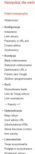 Zmiany w Narzędziach Google dla Webmasterów - menu boczne