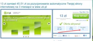 Sweetdeal  13 zł zamiast 45 51 zł za pozycjonowanie automatyczne Twojej strony internetowej na 3 miesiące w www.uti.pl