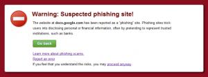 Phishing - ostrzeżenie generowane przez Google w wyniukach wyszukiwania