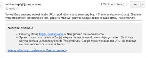 Komunikat o wystąpienie problemów z indeksowaniem - 404 - Narzędzia Google dla Webmasterów