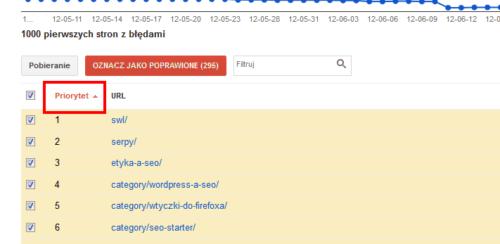 Strony błędu 404 w Narzędziach - lista