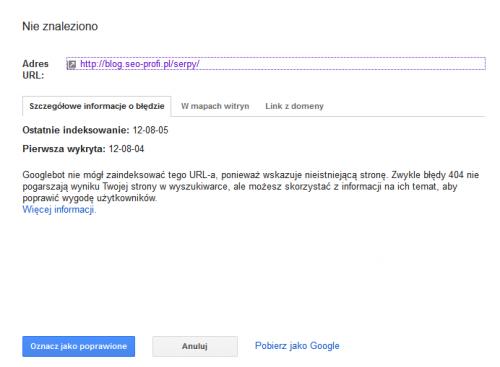 Przykładowy link z błędów indeksowania w Narzędziach Google dla Webmasterów