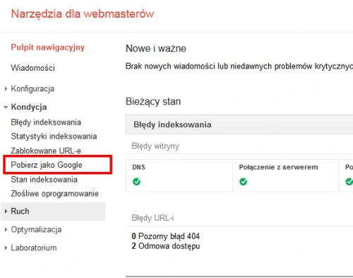 Pobierz jako Google - menu w Narzędziach
