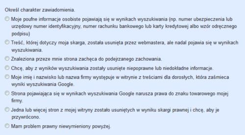 Żądanie usunięcia strony z Google - powody