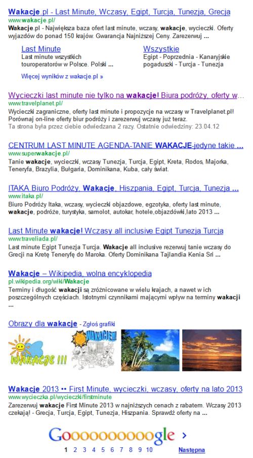 7 wyników wyszukiwania w Google