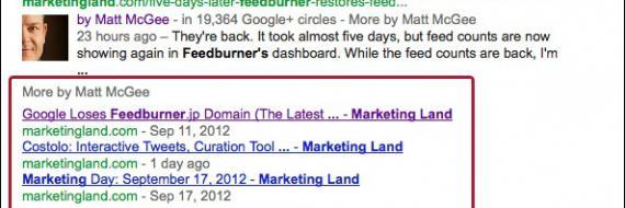 Dodatkowe trzy linki w SERPach Google do podobnych artykułów autora