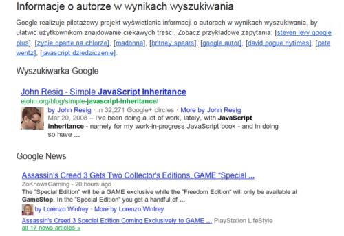 Informacja o autorze w wynikach wyszukiwania