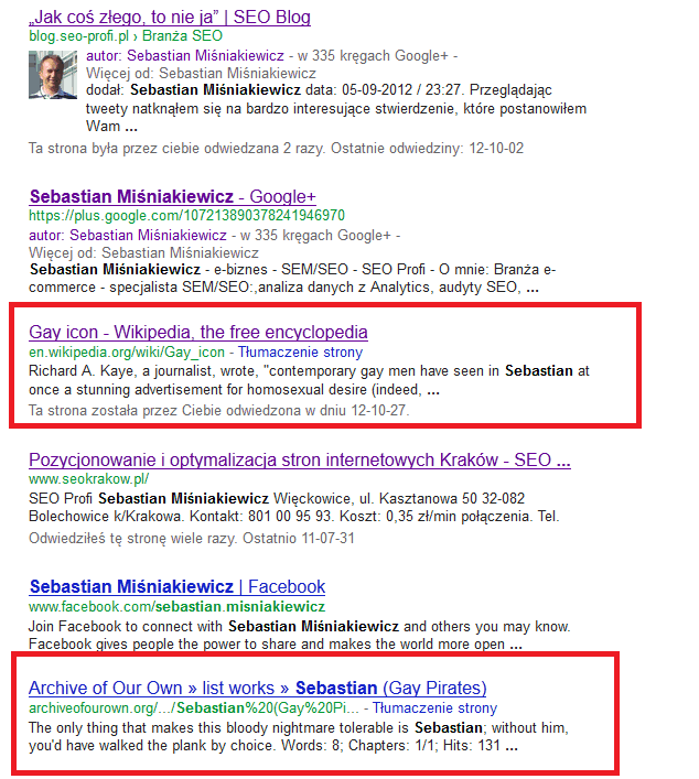 Sebastian Miśniakiewicz Google Bomb