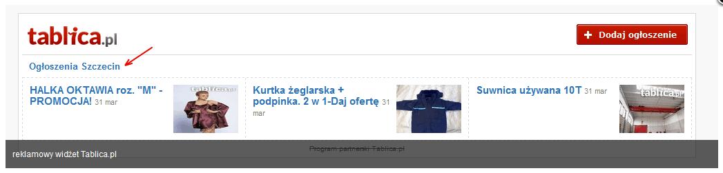 Widżet reklamy Tablica.pl