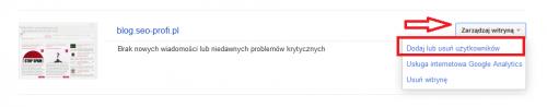 Dodanie nowego użytkownika w Narzędziach Google dla Webmasterów