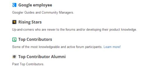 Plakietki na Forum Google