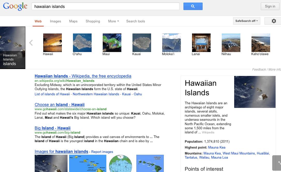 Hawaje w SERPach w Google GB