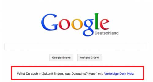 Strona głowna wyszukiwarki Google.de - link do akcji Verteidige Dein Netz