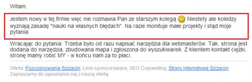 Pozycjonowanie Szczecin - z życia wzięte cz. 5