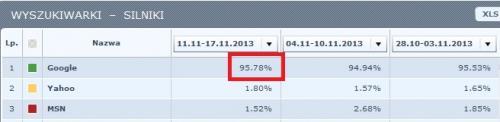 udział Google w polskim rynku - listopad 2013