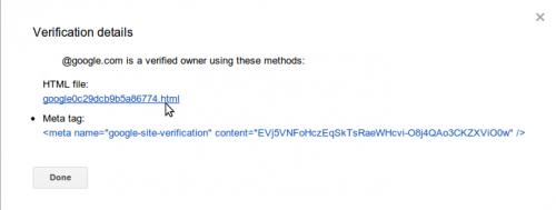 Szczegóły weryfikacji domeny w Narzędziach Google