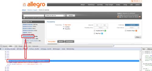 Allegro - nagłówek H1 w menu na stronach podkategorii