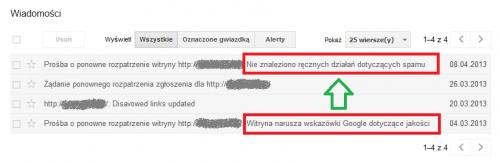Wyjście strony z filtra Google - komunikat z Narzędzi dla Webmasterów