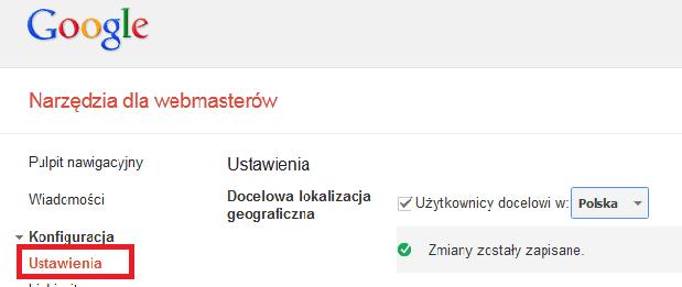 Docelowa lokalizacja geograficzna - ustawienie domeny w Narzedziach dla Webmasterów