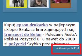 Reklama Prolinka na stronie - boks