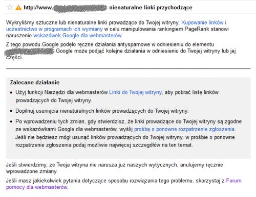 Nowe powiadomienie od Google o wykryciu ninaturalnych linków