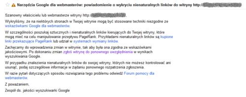 Stare powiadomienie od Google o wykryciu ninaturalnych linków