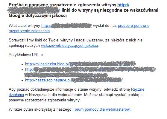 Przykładowe linki odpowiadające za ręczny filtr od Google