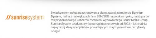 Pozycjonowanie Sunrise System w Nazwa.pl
