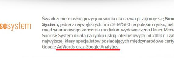 Sunrise System certyfikaty Google Adwords i Google Analytics