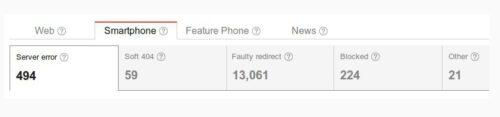 Błędy indeksowania dl aużytkowników smartfonów i telefonów w Narzędziach Google dla Webmasterów - przykłady