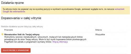 Powiadomienie od Google o nienaturalnych linkach - działanie ręczne w obrębie całej witryny