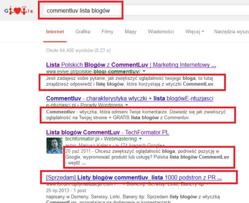 Lista blogów używających wtyczki commentluv