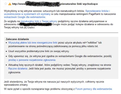 Narzędzia Google - komunikat o nienaturalnych linkach wychodzących ze strony