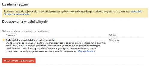 Nowe powiadomienie od Google - Mało treści - komunikat w Działania Ręczne w Narzędziach Google dla Webmasterów