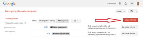 Jak dodać stronę dla narzędzi Google dla webmasterów