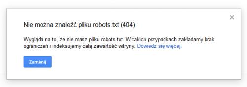 tester pliku robots.txt - brak pliku
