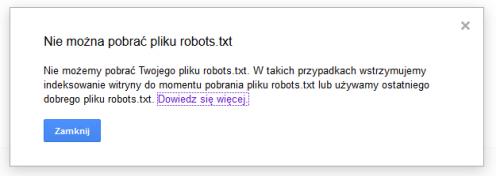tester pliku robots.txt - nie można pobrać pliku