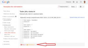 tester pliku robots.txt w Narzędziach dla Webmasterów - przykładowy wynik testu