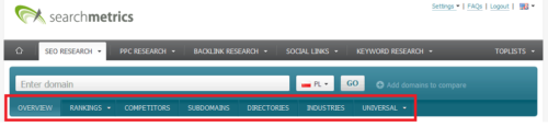 Searchmetrics - opcje programu pod SEO