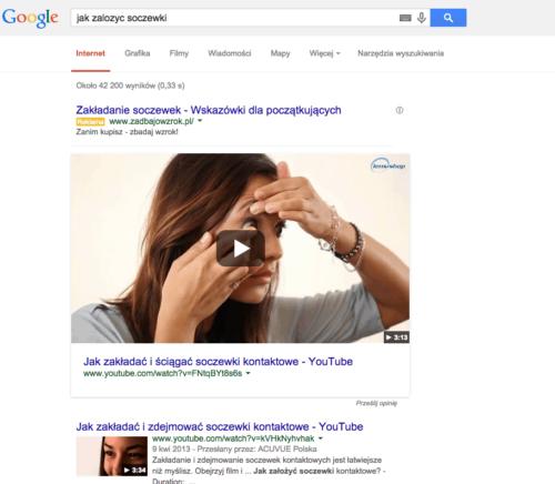 Youtube w wynikach wyszukiwania na TOP1