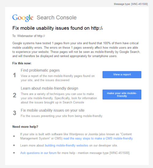 Powiadomienie w Konsoli Google (Search Console) - fix mobile usability issues